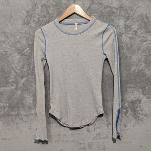 Free People Tops - Free People grey blue zipper cuff thermal